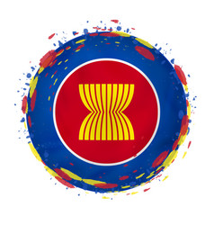 Round grunge flag asean with splashes in flag vector