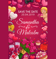 Save date wedding party heart balloon flowers vector