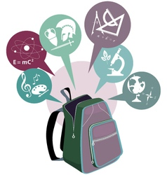 School backpack and symbols of subjects vector
