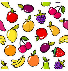seamless pattern fruits with black outline vector image