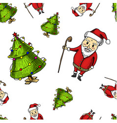 seamless pattern tree and santa claus merry vector image