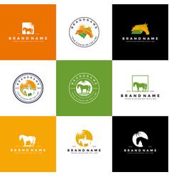 Set logo design horse vector