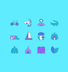 set simple line icons ecotourism vector image