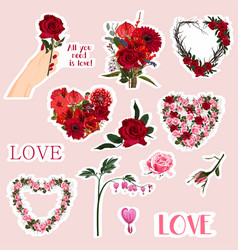 set valentines day doodle stickers vector image