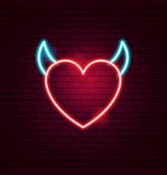 sex heart neon sign vector image