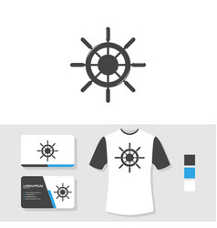ship wheel logo design with business card and t vector image