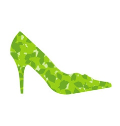 shoe with leaves vector image