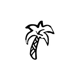 single palm tree grunge icon hand drawn vector image