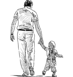 sketch a father with his little son going down vector image