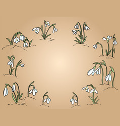 Snowdrops hand drawn colorful postcard place for vector