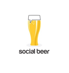 social beer glass pub design template vector image