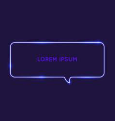 speech bubble neon glow against a dark background vector image