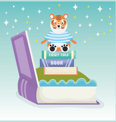 tiger sitting books fantasy fairy tale vector image