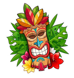 Tiki tribal wooden mask vector