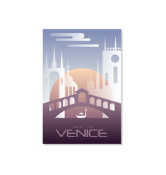 trip to venice travel poster template touristic vector image