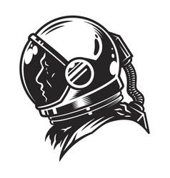 Vintage monochrome cosmonaut profile view template vector