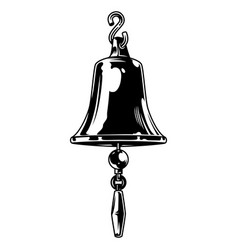 Vintage monochrome ship bell template vector