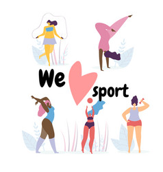 we love sport banner with flexible plus size girls vector image