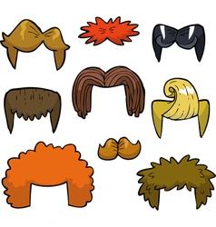 Wigs set doodle vector