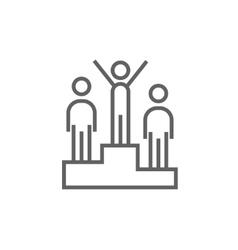 Winners on podium line icon vector image