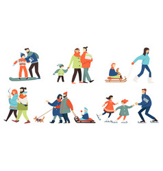winter activities family people father mother vector image