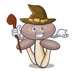 Witch honey agaric mushroom mascot cartoon vector