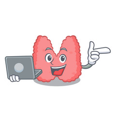 With laptop thyroid character cartoon style vector