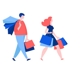 woman and man walking with purchase buy paper vector image