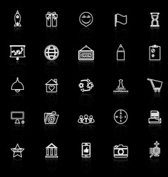 Business start up line icons with reflect on black vector image vector image