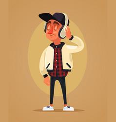happy boy teen character listening music vector image vector image