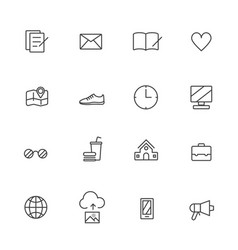 universal line icons set on white background vector image vector image