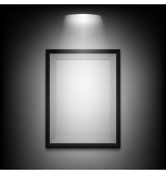 Blank illuminated picture frame on black vector image