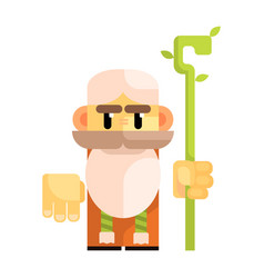 cartoon bearded gnome with a staff in his hands vector image