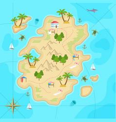 cartoon tropical island in ocean top view exotic vector image