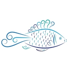 Doodle color abstract blue fish vector image vector image
