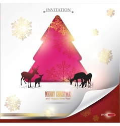 elegant winter background with christmas tree and vector image