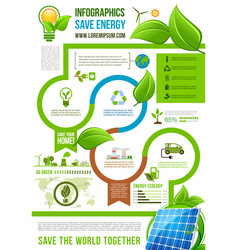 green energy infographics on nature ecology vector image