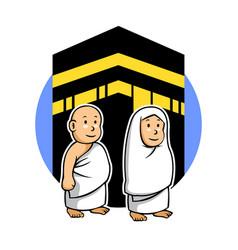 Hajj kids and kabaa vector