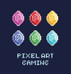 pixel art style set - diamonds vector image vector image