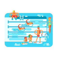 public swimming pool vector image