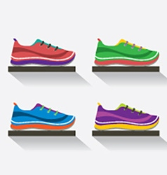 Side View Of Running Shoes On Shelf vector image