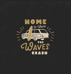 summer label with retro surf car surfboard and vector image
