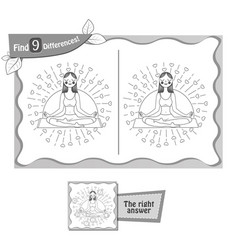 find 9 differences game black yoga vector image vector image