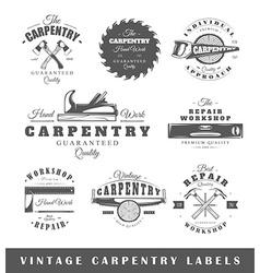Set of vintage labels carpentry vector image