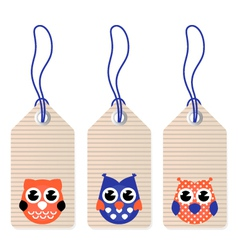 Cute halloween owl blank tags vector image vector image