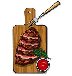 grilled beef steaks vector image vector image