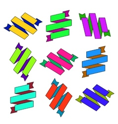 Set of cartoon paper colored zigzag Ribbons vector image