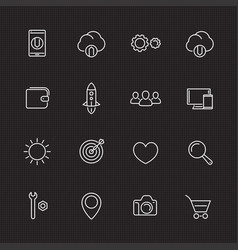 thin line web icons set for websites and apps vector image