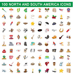 100 north and south america icons set vector