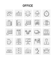 25 hand drawn office icon set gray background vector